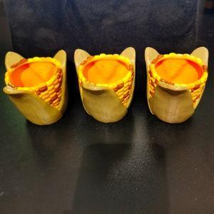 3 vintage hallmark corn figurines / holders